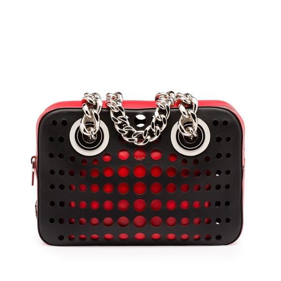 Prada City Fori Perforated Chain Shoulder Bag Red/Black