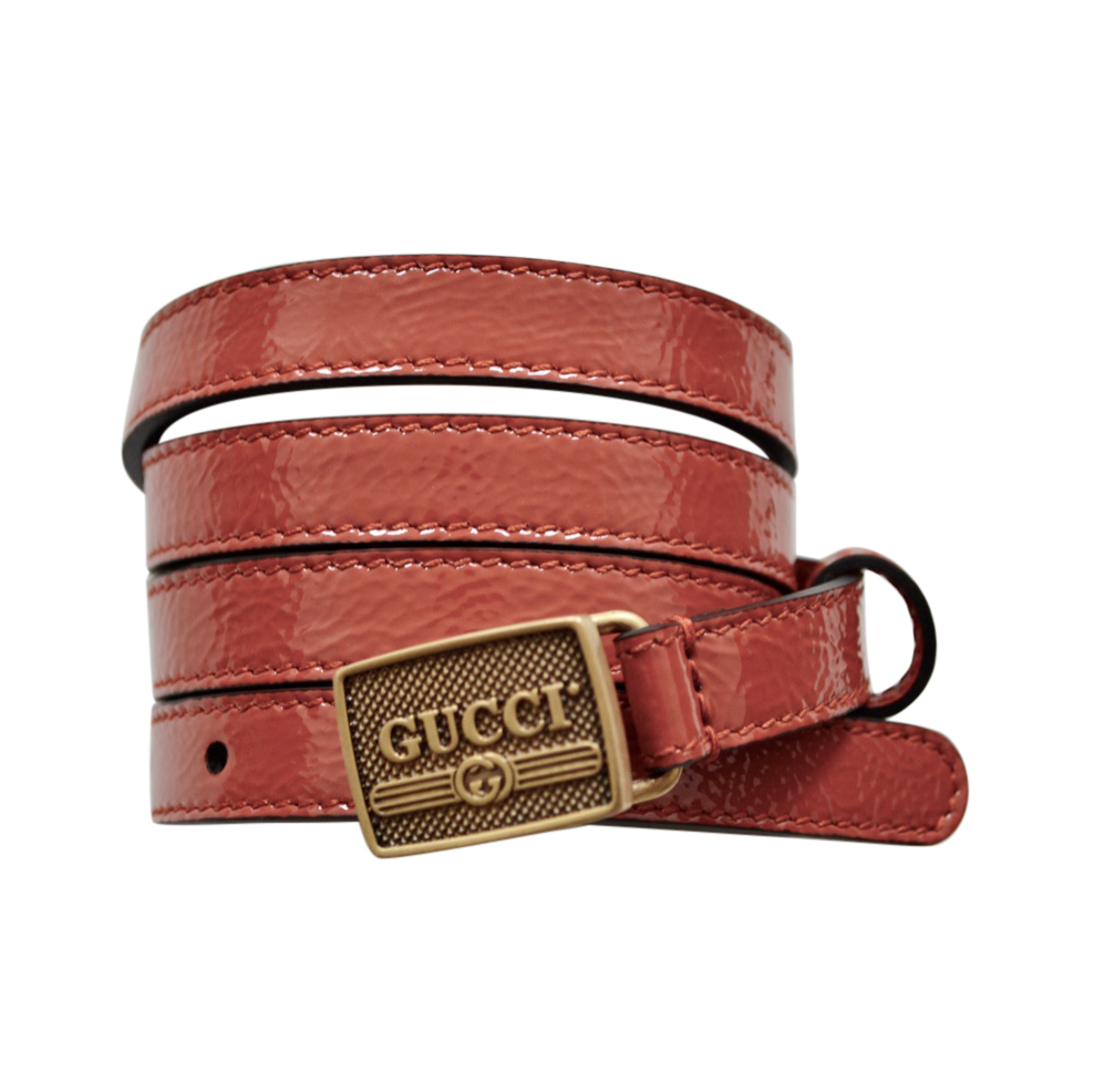 Gucci Brown Leather Skinny Belt