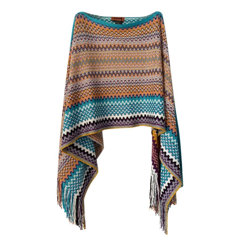 Missoni Multicoloured Zig-Zag Knit Poncho