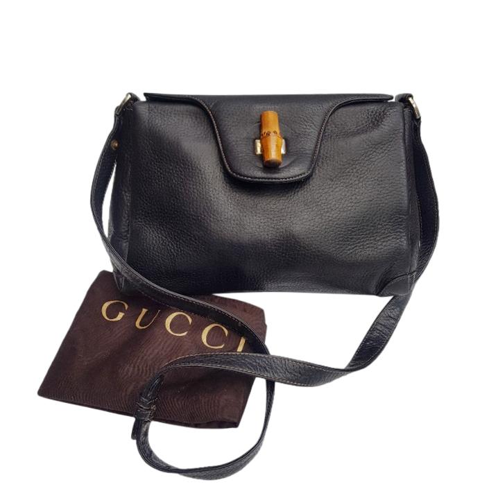 Gucci Black Leather Vintage Bamboo Shoulder Bag