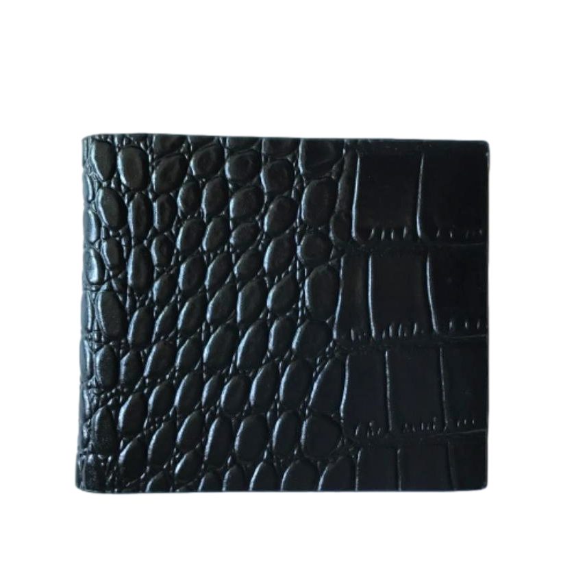 William Hunt Black Croc Embossed Wallet
