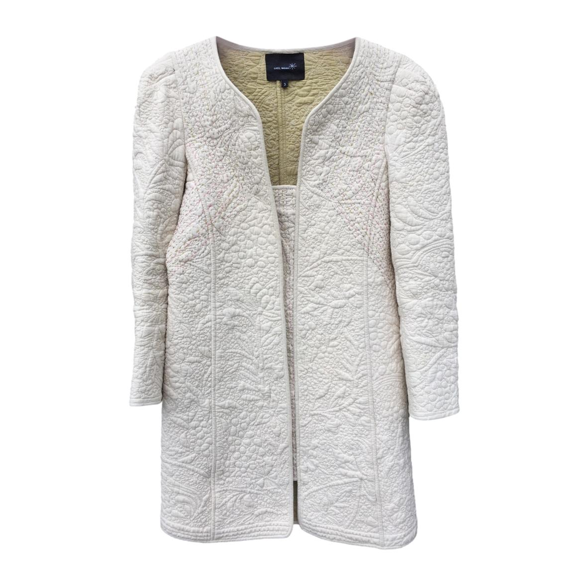 Isabel Marant Embroidered Textured Ecru Coat