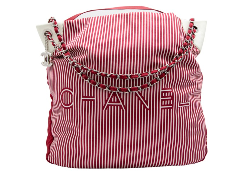Chanel Red & White Striped Canvas Leather Trimmed Tote Bag