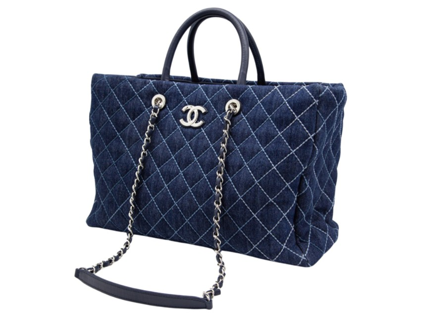 Chanel Quilted Denim Large Shopper Tote