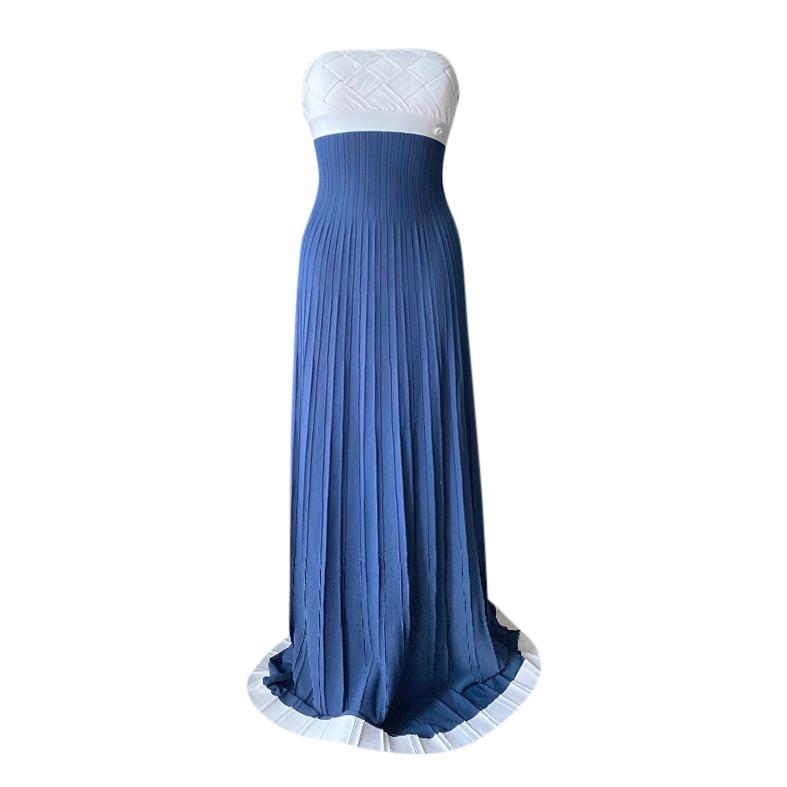 Chanel Resort Pleated & Woven Knit Two-Tone Halterneck Dress