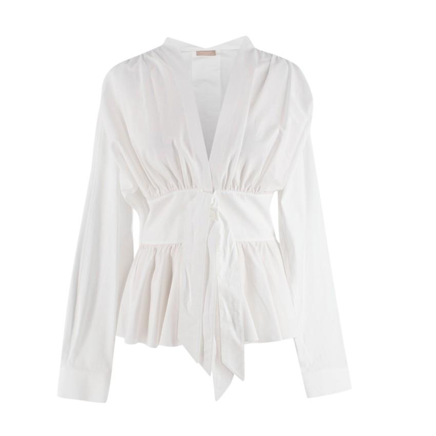 Alaia White Cotton Poplin Tie-Front V-Neck Blouse