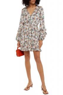 MAJE Ruffle-trimmed shirred printed cady mini dress