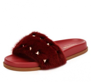 Valentino Garavani Red MInk Fur Rockstud Slides