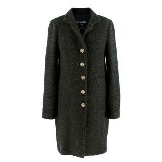 Chanel Green Lurex Boucle Tweed Tailored Coat