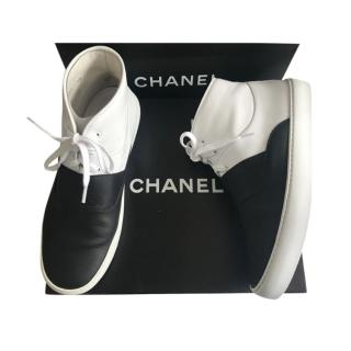 Chanel Black & White Smooth Leather High Top Sneakers