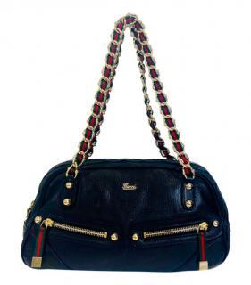 Gucci Vintage Grained Leather Web Detail Capri Shoulder Bag