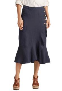 Lauren Ralph Lauren Linen Flounce Hem Wrap Skirt