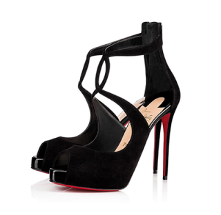 Christian Louboutin Rosie Veau Velours/Patent 120 Black Sandals
