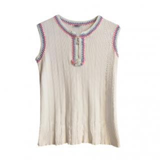 Chanel Embroidered White Sleeveless Top