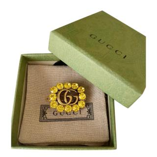 GUCCI GG Marmont gold-tone yellow crystal brooch