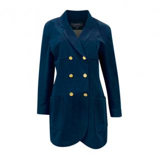 Chanel Navy Vintage Cotton Double Breasted Longline Jacket