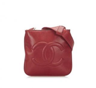 Chanel Red VIntage Leather CC Belt Bag