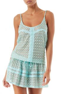 Melissa Odabash Turquoise Lurex Knit Beach Cover-Up