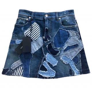 Dolce & Gabbana Patchwork Denim Mini Skirt