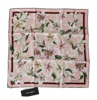 Dolce & Gabbana Pink Lily Print Scarf/Neck Tie