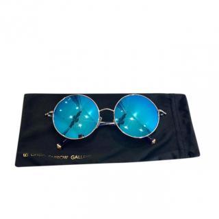 Linda Farrow x Matthew Williamson Blue Mirrored Round Sunglasses