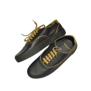 Saint Laurent Black & Gold Venice Low Top SL Sneakers
