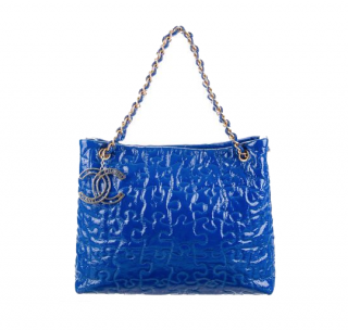 Chanel Blue Patent Leather Limited Edition Puzzle Tote Bag