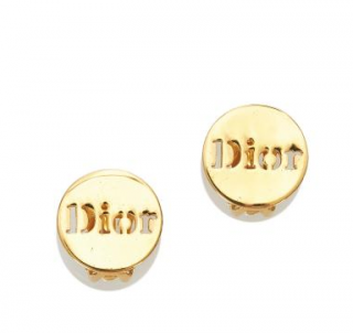 Dior Gold Tone Round Logo Clip-On Earrings