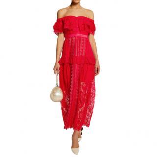 Self-Portrait Red Fine Lace Off-The-Shoulder Maxi Dress