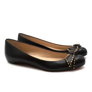 Christian Louboutin Black Leather Studded Ballerina Flats