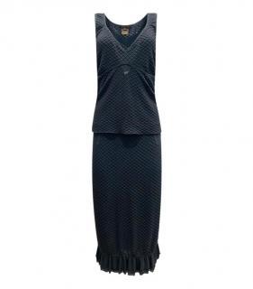 Louis Vuitton Grey Waffle Knit Sleeveless Top & Skirt