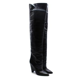 Saint Laurent Niki Over-The-Knee Black Boots