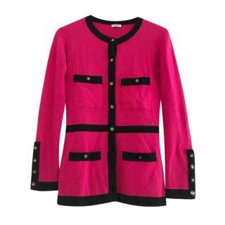 Chanel Vintage Pink Cashmere Button Down Cardigan