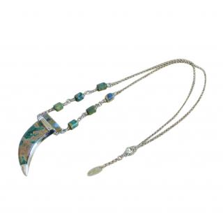 Roberto Cavalli stone tusk gold tone necklace