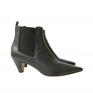 Arket Black Pointed Toe leather Ankle Boots