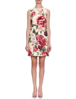 Dolce & Gabbana Sleeveless Rose & Peony Print Wool-Crepe Dress