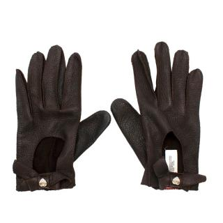 Juicy Couture Brown Leather Gloves