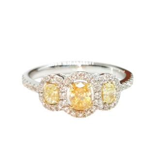 Bespoke 18ct White Gold Yellow Diamond Trilogy Ring