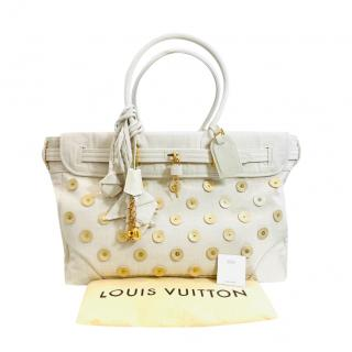 Louis Vuitton White Embellished Big Steamer Panama Bag