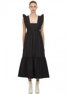 Self Portrait Black Frilled Sleeveless Midi Dress