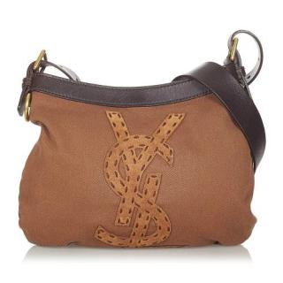 YSL Vintage Embroidered Canvas Crossbody Bag