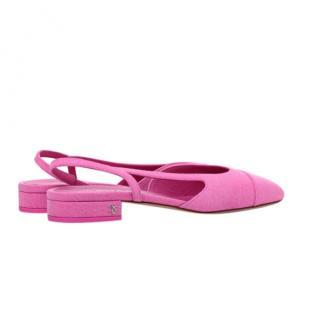 Chanel Pink Denim Slingback Flat Sandals - Sold Out