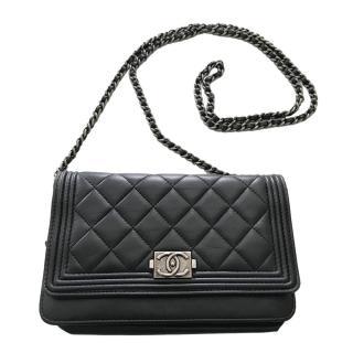 Chanel Black Lambskin Boy Wallet on Chain WOC