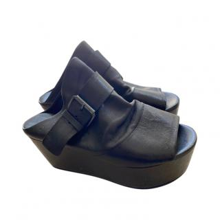 Marsell Black Leather Chunky Platform Slides