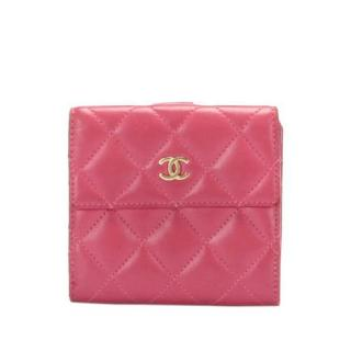 Chanel Pink Lambskin Leather Compact Wallet
