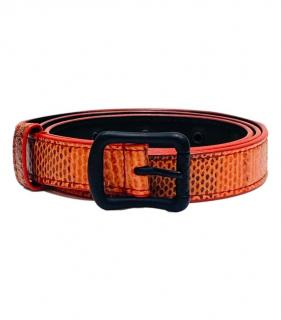 Bottega Veneta Orange Lizard Skinny Belt