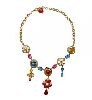 Dolce & Gabbana multi coloured crystal floral necklace