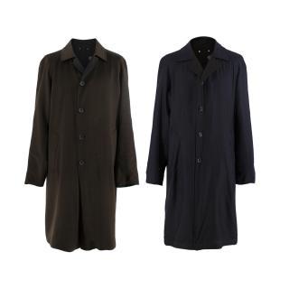 Louis Vuitton Men's Green & Blue Reversible Single Breasted Coat