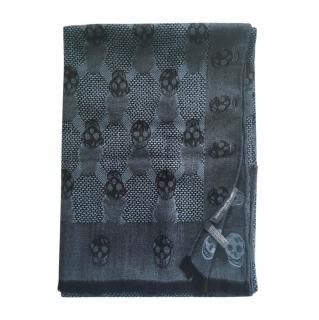 Alexander McQueen Blue-Grey Cashmere & Silk Skull Scarf