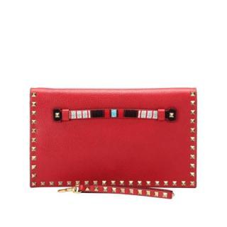 Valentino Garavani Red Rockstud Leather Clutch Bag